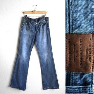LUCKY BRAND Lil Maggie low rise distressed flare